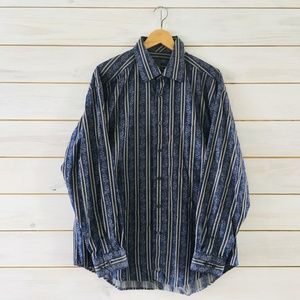Johnston & Murphy Large striped floral dress shirt